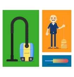 Cleaner on flat style vector