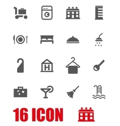 Grey hotel icon set vector