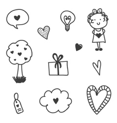 Set of valentines day doodles vector
