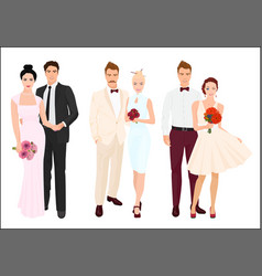 Elegant wedding couples bride and groom set vector