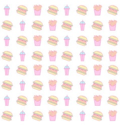 Hamburger and french fries seamless pattern vector