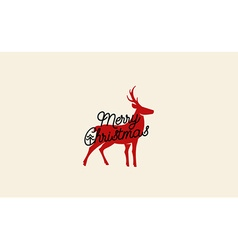 Merry christmas card with deer drawing vector