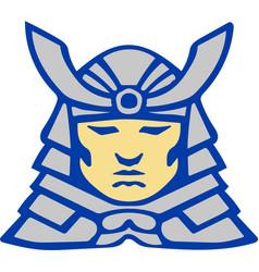Bushido samurai head armor helmet retro vector