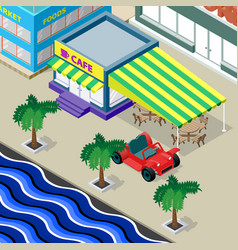 Cafe palm trees car and urban landscape on the vector