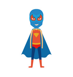 colorful silhouette with standing boy superhero vector image