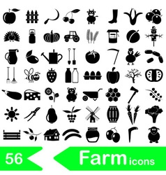 Farm and farming big simple icons set eps10 vector