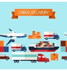 Freight cargo transport icons seamless pattern in vector
