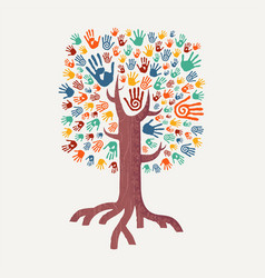 hand drawn handprint tree for community help vector image vector image