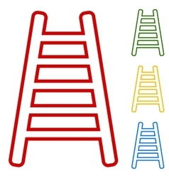 Ladder sign Set of line icons vector image