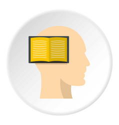 Open book inside a man head icon circle vector