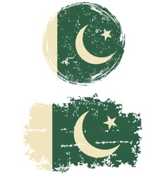 Pakistani round and square grunge flags vector