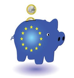 Piggy bank blue and one euro vector
