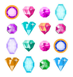 precious stones set cartoon jewels vector image