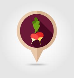 Radish flat pin map icon vegetable vector