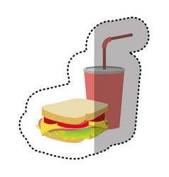 sandwich with soda flat icon vector image vector image