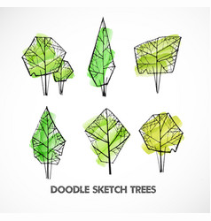 Set of green doodle sketch trees on white vector