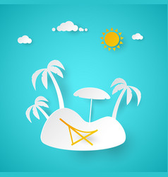 Summer vacation tropical island with palm tree vector