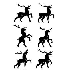 Wild bull elks or deers black silhouettes vector