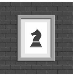 Photo frame on a dark brick wall vector image