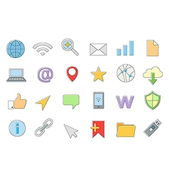 Web connection icons set vector