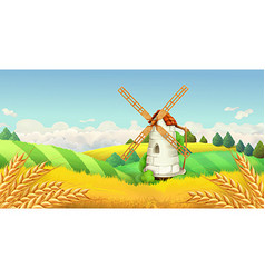 Wheat field Windmill landscape Horizontal vector image