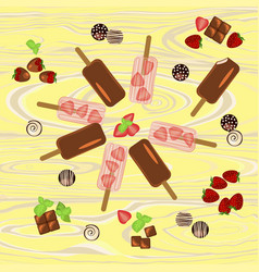 Popsicles with berries and chocolate vector