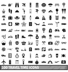 100 travel time icons set simple style vector