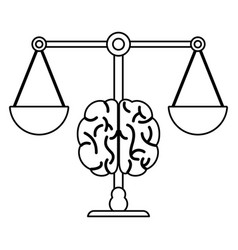 Brain balance image outline vector