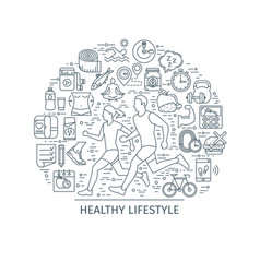 Healthy lifestyle outline banner3 vector