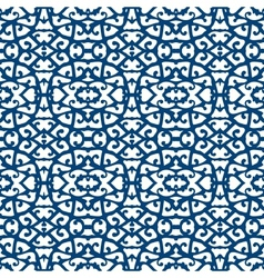 Elegant lace pattern with blue lines on white vector