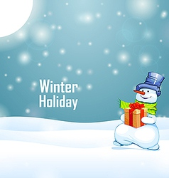 Sunny winter holiday and snowman with gift on snow vector