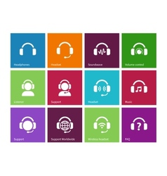 Headphones icons on color background vector