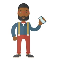 Black office worker holding his smartphone vector