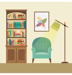 Reading nook with armchair and floor lamp vector