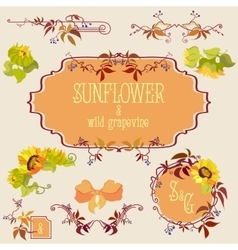 Template and border elements set with sunflower vector