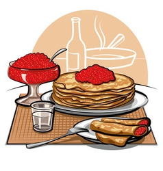 Crepes with Raspberries for Breakfast vector image
