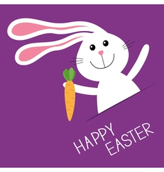 Happy easter bunny rabbit hare carrot in the vector