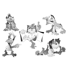 Cartoon monkey in 5 different poses vector