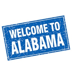 Alabama blue square grunge welcome to stamp vector