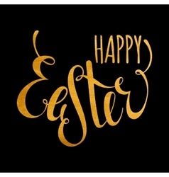 Happy easter handwriting gold inscription vector