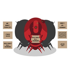 Alien robots invasion 3 robots with defferent vector