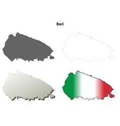 Bari blank detailed outline map set vector