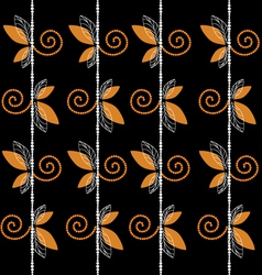 Black pattern with leaf and curl background vector image