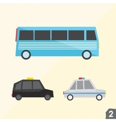 Blue bus taxi cab police car transportation vector