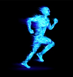 Blue fiery running man vector image vector image