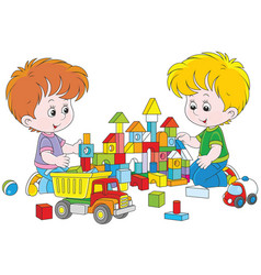 boys playing with bricks vector image vector image
