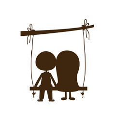 Brown silhouette caricature man and woman sit in vector