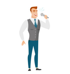 Caucasian businessman singing to the microphone vector