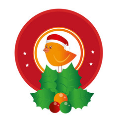 Circular emblem of bird with christmas hat and vector