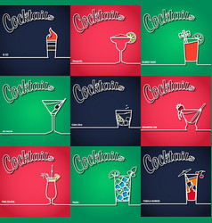 Cocktail Background Outline 1 vector image vector image
